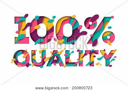 100 Quality sign with abstract paper cut shapes isolated on white background. Vector illustration. Typographic design, Quality guarantee stamp