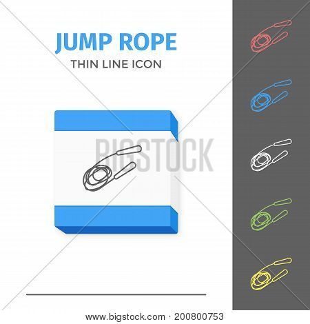 Simple thin line stroked jump rope vector isolated on white sport icon. Jumping rope for adults and children