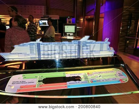 Barcelona, Spain - September 10, 2015: The Ship chart of cruise ship Allure of the Seas, The Royal Caribbean International. The interior view of the ship at evening