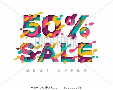 Paper cut sale 50 percent off. 50 discount 3d sign isolated on white background. Vector illustration. Sale symbol concept, special offer label, sticker tag, banner, advertising badge
