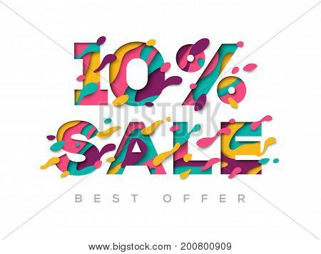 Paper cut sale 10 percent off. 10 discount 3d sign isolated on white background. Vector illustration. Sale symbol concept, special offer label, sticker tag, banner, advertising badge