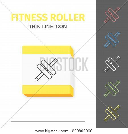 Simple thin line stroked fitness handle roller vector isolated sport icon. Concept of healthy still life equipment