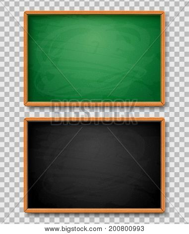 Black and Green chalkboards on transparent background. Vector illustration. Object for back to school, education and science design