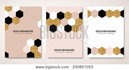 Banners set with gold geometric patterns. Vector illustration. Flyer design layout templates for wedding cards, business brochure design, certificates. Golden hexagons decor
