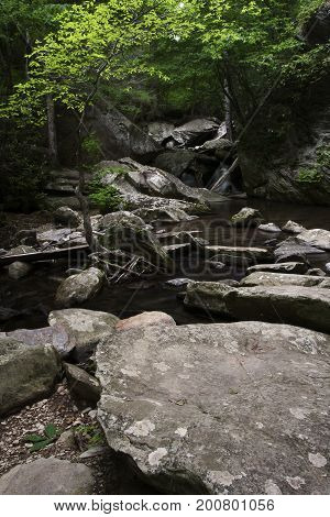 Rocks and boulders along the Go Forth Creek in eastern Tennessee