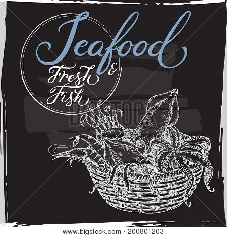 Seafood template with calligraphy on black backrgound. Includes seafood basket sketch with octopus, crab, shrimp and squid. Great for markets, grocery stores, fishing and food label design.