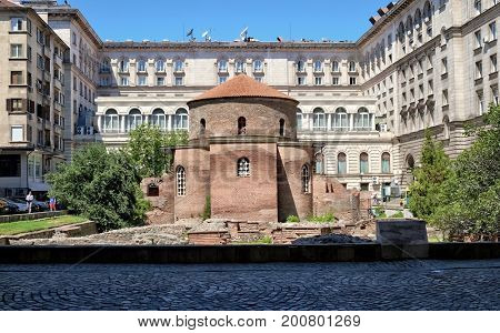 SOFIA, BULGARIA - AUGUST 01, 2017: Rotunda or Church of St. George is the oldest building in Sofia