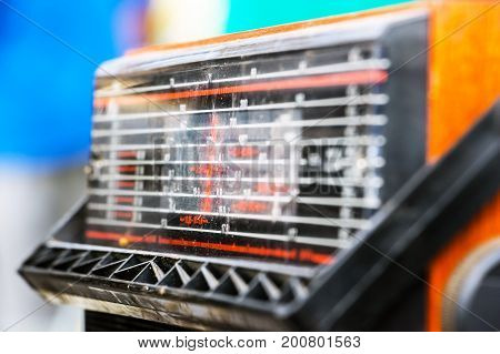 Selective focus. An old radio dial close-up. Tuning scale