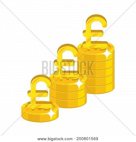 Pound growing stacks. Gold, precious metal investment, great currency. Business finance and economy concept. Cartoon vector illustration isolated on white background