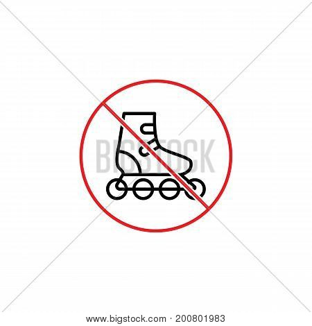 Roller Skates Prohibition Sign On White Background