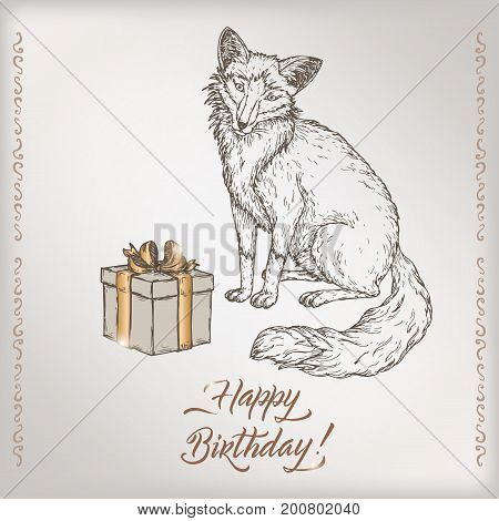 Romantic vintage birthday card template with calligraphy, fox and gift box sketch. Great for holiday design.