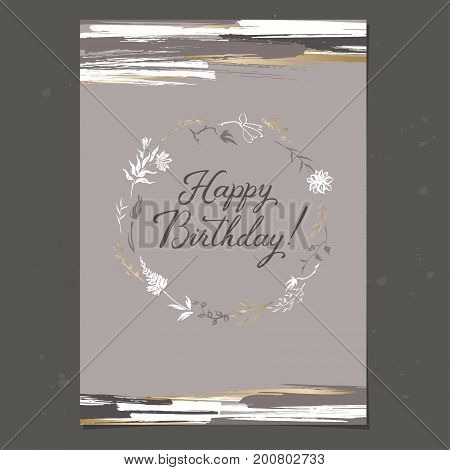 Elegant A4 birthday greeting card with brush lettering calligraphy and hand painted vector ink wreath. Great for holiday design.