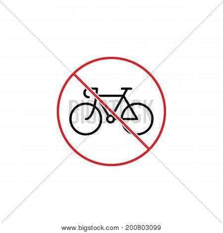 No Bicycle Sign On White Background