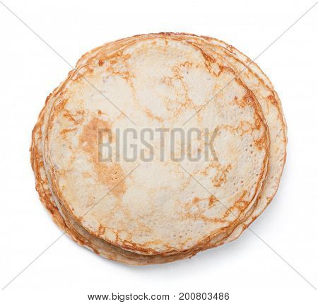 Stack of thin pancakes isolated on white