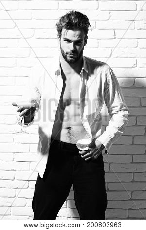 young handsome bearded macho man with stylish beard in unbuttoned white shirt and muscular bare torso on athletic body holding glass of alcoholic orange cocktail on white brick wall background