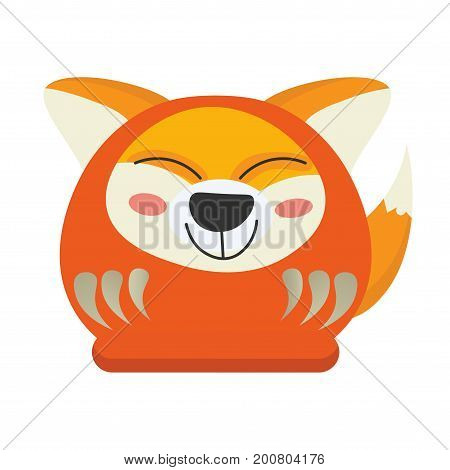 Cute Japanese Traditional Daruma Doll with Inari Okami or Kitsune face and fox tail. Inari is the Japanese Kami, spirit or goddess of foxes and fertility. Kitsune Daruma Doll vector illustration.