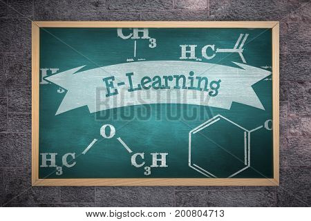 Image of a chalkboard    against e-learning against green chalkboard