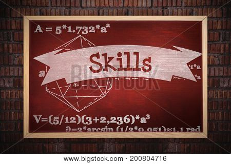 Chalkboard    against skills against desk