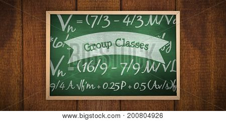 Image of a chalkboard    against group classes against green chalkboard