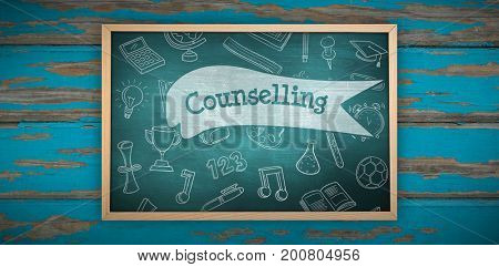 Chalkboard    against counselling against green chalkboard