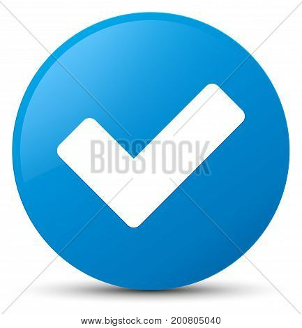 Validate Icon Cyan Blue Round Button