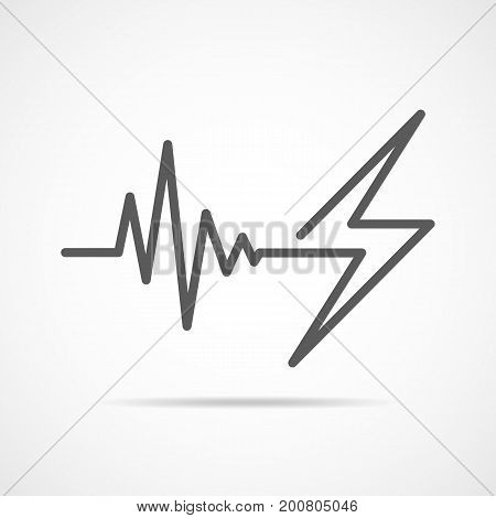 Gray heartbeat sign with lightning. Vector illustration. Heartbeat icon in flat outline style.