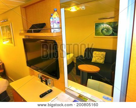 Barcelona, Spain - September 06, 2015: Royal Caribbean, Allure of the Seas sailing from Barcelona on September 6 2015. The second largest passenger ship constructed behind sister ship Oasis of the Seas. The interior view the inside cabin of the ship