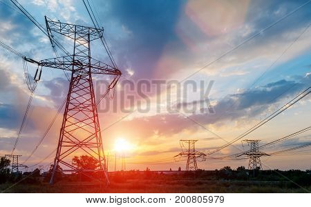 High voltage towerHigh voltage tower at Sunset.