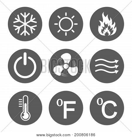 Set of conditioning icons. Vector illustration. Hot cold air power temperature.