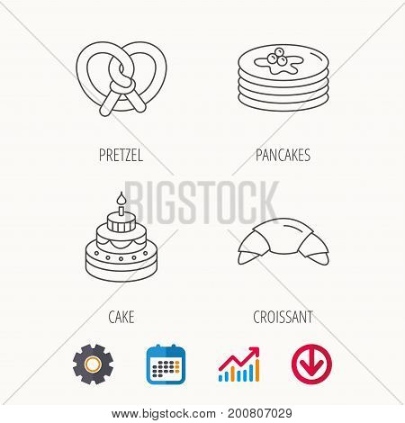 Croissant, pretzel and pancakes icons. Sweet cake linear sign. Calendar, Graph chart and Cogwheel signs. Download colored web icon. Vector