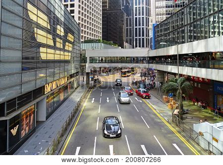 Central, Hong Kong - February 09, 2016: Pedder Street along the Chater House with a large Armani store between skyscrapers in the Central District on Hong Kong Island, Hong Kong.
