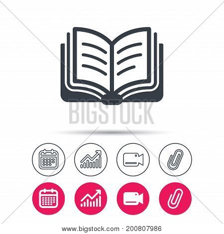 Book icon. Study literature sign. Education textbook symbol. Statistics chart, calendar and video camera signs. Attachment clip web icons. Vector