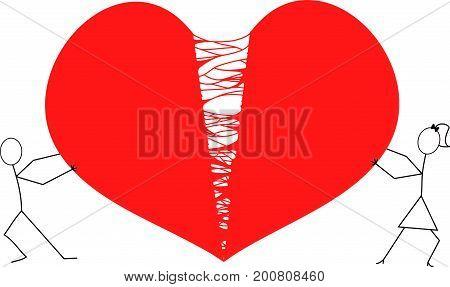 man and woman stick figures tearing hart apart / red broken hart
