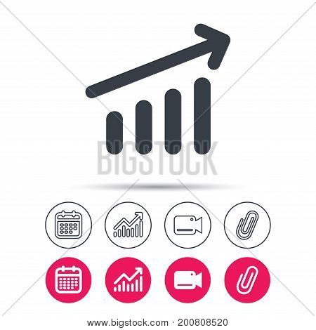 Growing graph icon. Business analytics chart symbol. Statistics chart, calendar and video camera signs. Attachment clip web icons. Vector
