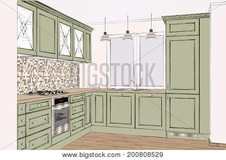 3D rendering. Beautiful classic kitchen design in light interior. Kitchen sketch.