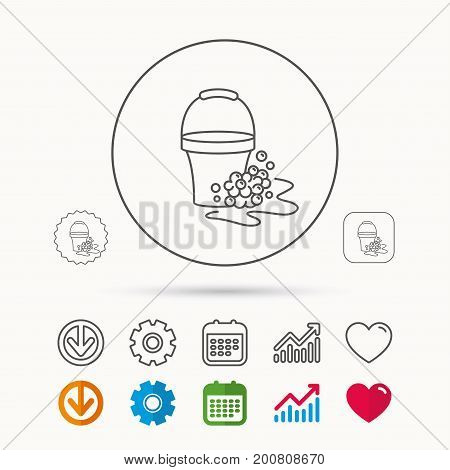 Soapy cleaning icon. Bucket with foam and bubbles sign. Calendar, Graph chart and Cogwheel signs. Download and Heart love linear web icons. Vector