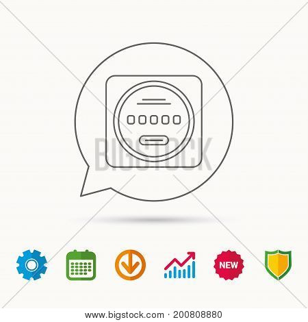 Electricity power counter icon. Measurement sign. Calendar, Graph chart and Cogwheel signs. Download and Shield web icons. Vector
