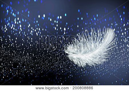 Beautiful soft fluffy white feather on the abstract wet background with rain droplets. Can be used in advertising of light airy and waterproof clothes cosmetics or sanitary napkins