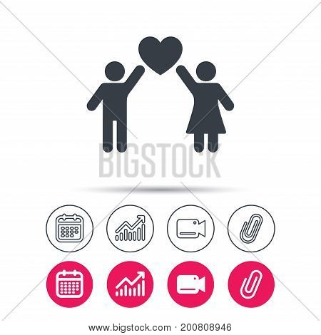 Couple love icon. Traditional young family symbol. Statistics chart, calendar and video camera signs. Attachment clip web icons. Vector