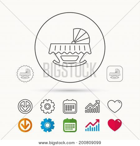 Baby cradle bed icon. Child crib sign. Newborn sleeping cot symbol. Calendar, Graph chart and Cogwheel signs. Download and Heart love linear web icons. Vector
