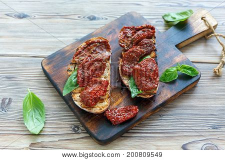 Grilled Homemade Bread With Sun-dried Tomatoes.