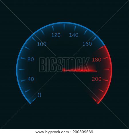 Digital speedometer. Tachometer or odometer illustration isolated over dark background