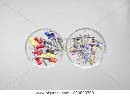 Endodontic Equipment: Hand and Machine Root Canal Files Protaper in Petri dish glass closeup