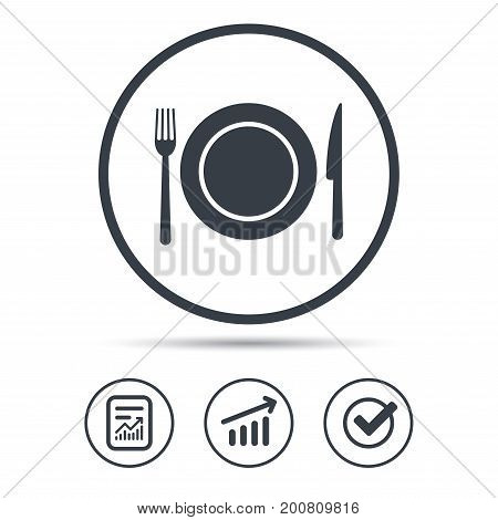 Dish, fork and knife icons. Cutlery symbol. Report document, Graph chart and Check signs. Circle web buttons. Vector