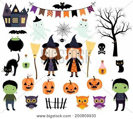 Cute Halloween vector set with kids in costumes animals and design elements for invitations greeting cards and scrapbooking