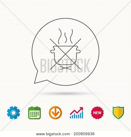 Boiling saucepan icon. Do not boil water sign. Cooking manual attenction symbol. Calendar, Graph chart and Cogwheel signs. Download and Shield web icons. Vector