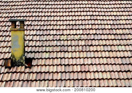 old roofing tiles and a roof close up
