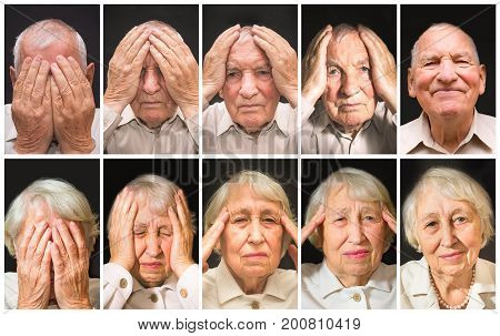 Portrait of an elderly man and woman with face closed by hands on black. Collage