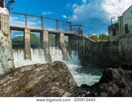 Old Hydro power station in Chemal, Altai,Siberia, Russia. A popular tourist place,