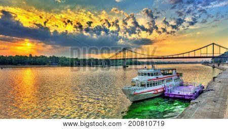 Sunrise over the Dnieper river in Kiev, the capital of Ukraine